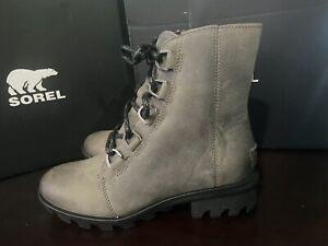 Sorel Women's Phoenix Short Lace-Up Waterproof Leather Ankle Boots Quarry sz 6.5