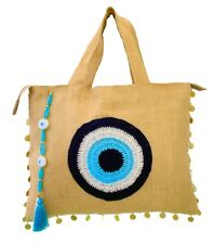 Evil Eye Jute/Burlap Large Handbag BeachBag ZipperTop with Crystals and Tassel