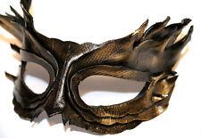 GOLDEN Bronzo Piuma Maschera Veneziana Ballo in Maschera in pelle fatto a mano