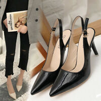 New Women Buckle Slingback Sandals Ladies Work Smart High Heel Pointed Toe Shoes