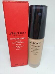 NIB Shiseido Syncro Skin Lasting Liquid Foundation Oil Free, Rose 4, 1oz/30ml