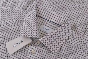 Eton NWT Dress Shirt Sz 17 43 Contemporary White With Black Geometric Medallions