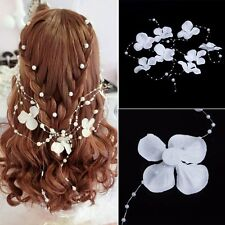 White Flower Pearl Bead Wedding Bridal Garland Frontlet Headpiece Hair Accessory