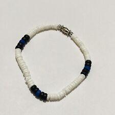 "Handmade 7"" Blue Black White Beaded Boho Hippie Festival Screw Clasp Bracelet"