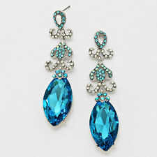 blue /silver  crystal/rhinestone bridal/ prom   evening  dangle   earring Be3