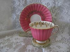 ROYAL STAFFORD BONE CHINA TEA CUP & SAUCER Bright Pink Made in England