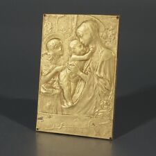 Antique French Devotional Plaque Signed, The Virgin Mary with the Infant Jesus