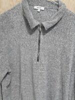 REISS, Grey/White Soft Flannel Zip Neck Long Sleeve-Swindon
