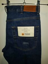 Stylish BNWT denim jeans by FARAH - Darkwood Rigid - mid blue W34 L30