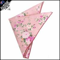 Pink with Floral Pattern Pocket Square Handkerchief Hanky