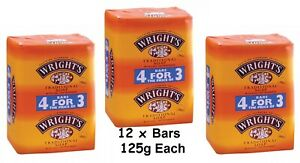 12 x Wrights Traditional Soap with Coal Tar Fragrance Antiseptic Bars  125g Each