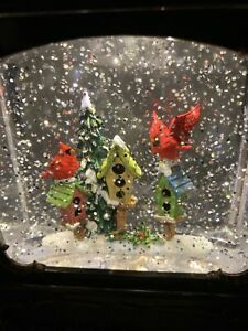 "Christmas Snow Globe Water SWIRLING Lighted Cardinal Bird House 10"" (GE1)"