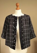 Designer Jesire Sz UK14 Wool Mix Sparkly Sequin Jacket Bolero Party Black White