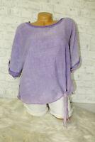 Italy Oversized T-Shirt Vintage Gr.36 38 40 42 Shirt blogger flieder Knoten NEU
