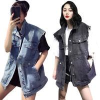Womens Long Sleeveless Denim Jacket Vest Ladies Casual Pocket Outwear Waistcoat