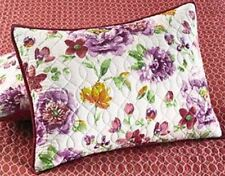 Martha Stewart Collection Lenora Standard Quilted Pillow Sham White, Floral,Pink