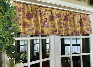 Toile Curtain Valance 2 Piece Handmade French Country Farmhouse Romantic Chic