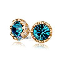 18K Rose Gold Plated Gemstone Ear Studs Use Swarovski Crystal Turquoise Earrings