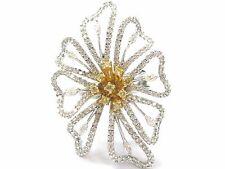 18Kt BIG FLOWER Diamond White Gold Jewelry Ring 2.60CT