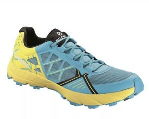 NEW WOMEN'S SCARPA SPIN TRAIL RUNNING SHOES 38.5 7 7.5 SCUBA BLUE / LEMON $139