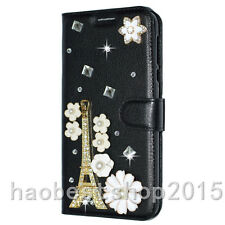 Bling Crystal Diamond Gems PU leather flip slots stand wallet black case cover T