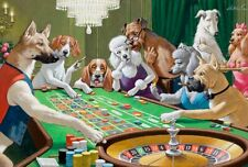 Best Gift Home Decor wall Dogs Playing Pool Game painting Printed on canvas VI