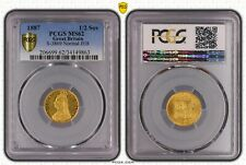 GREAT BRITAIN 1887 HALF GOLD SOVEREIGN VICTORIA MS62 PCGS CERT
