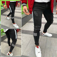 Men's Casual Skinny Jeans Pencil Stretch Pants Distressed Ripped Striped Trouser