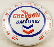 CHEVRON GASOLINE V WITH WINGS LOGO RED WHITE BLUE ROUND DOME SHAPE THERMOMETER