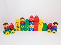 Lego Duplo Primo Baby Blocks Rattle Train Wheels & Squares 3 Boy Figures 27 pc