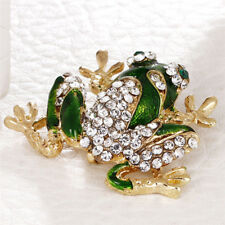 Brooch Suit Collar Pin Jewelry V! Green Frog Brooch Crystal Rhinestone Animal