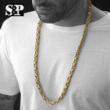 "MEN'S HIP HOP HEAVY GOLD STAINLESS STEEL 8MM 30"" BYZANTINE BOX CHAIN NECKLACE"
