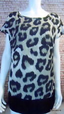M&S silky blouson animal leopard print top tunic khaki black 10 petite