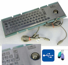 EDELSTAHL VANDALISMUSSICHERE TASTATUR TRACKBALL WASSERFEST PS/2 USB ALL WINDOWS
