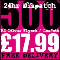 500 A6 Full Colour Digital Printed Flyers / Leaflets High Quality 24hr Dispatch