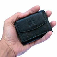 Mens Womens REAL Leather Wallet Trifold Small Coin Credit Card Slots Purse Black