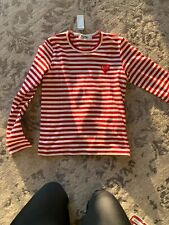 PLAY COMME DES GARCONS NWT Red Cotton Long Sleeve Crewneck Striped Shirt S
