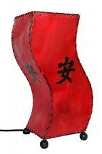 Exotische Tischlampe Nachttischlampe Tischleuchte Handarbeit Leder Zen rot 30cm