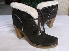BCB Girls Women's Brown Suede Lace Up Oxford Ankle Boots Faux Fur 10B