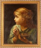English School Portrait of a Young Girl & Birds 19thC Large Antique Oil Painting