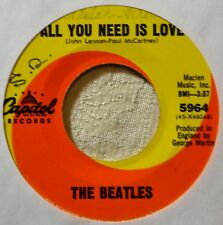 "Beatles All You Need is Love Orig 45 7"" Vinyl Strong Shiny VG Plays Well #A"