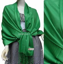 NEW Women Solid 100%Pashmina Wrap Stole Cashmere Shawl/Scarf Soft Kelly green