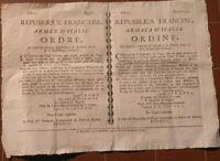 1798 REPUBBLICA CISALPINA A MILANO: RARO BANDO CONTRO LE SPIE FINTI MILITARI