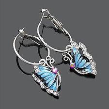 Rhinestone Vintage Blue Crystal Enamel Butterfly Animal Dangle Hoop Earrings OL
