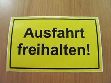 Schild Ausfahrt freihalten! / Gelb Wetterfest-UV Beständig Aluplatte 4 mm