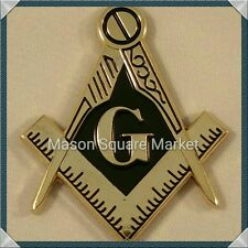 New Mini Freemason Masonic Square and Compass Car Emblem Gold & Black Tone
