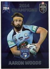 2014 ESP NRL STATE OF ORIGIN NSW BLUES WESTS TIGERS AARON WOODS SOO22 CARD
