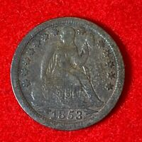 US 1853 Seated Liberty Dime 10C w/ Arrows Coin! 92
