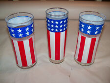 Lot of 3 Vintage Patriotic Stars Stripes Red White Blue TUMBLER Glasses