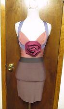 Herve Leger Pastel Sleeveless Bandage Dress With Floral Appliqué Sz S